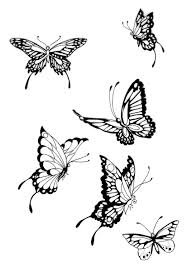 grey ink butterflies tattoos designs
