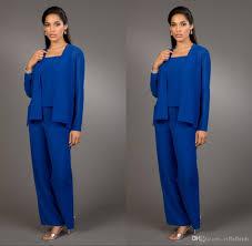 2016 modest royal blue pants suits for mother bride bateau