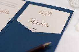 wedding invitations calligraphy calligraphy wedding invitation in navy blue pocketfold bossa