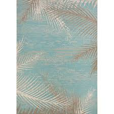 Indoor Outdoor Area Rugs Beachcrest Home Odilia Tropical Palms Turquoise Gray Ivory Indoor