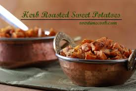 sweet potatoes thanksgiving herb roasted sweet potatoes overtime cook