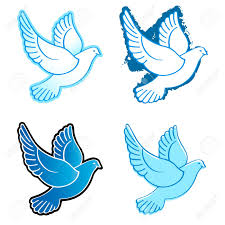 four flying dove designs in blue colors royalty free cliparts