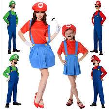 Flight Attendant Halloween Costumes Kids Men Women Super Mario Bros Cosplay Costume Boys