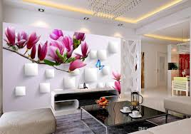 Wall Murals 3d Custom Any Size 3d Magnolia Butterfly Tv Wall Mural 3d Wallpaper
