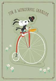 snoopy on vintage bike s day card for a grandfather