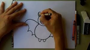 Easy Halloween Drawings For Kids by How To Draw A Bat How To Draw A Cute Cartoon Bat And Color It