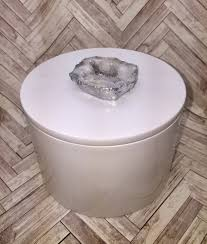 geode box white round lacquer geode decor box vanity jewelry candy storage