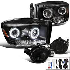 2008 dodge ram 1500 led fog lights amazon com dodge ram 1500 2500 black led halo projector headlights