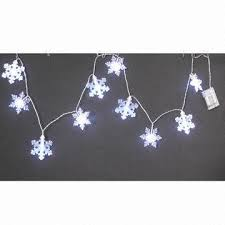 10ct small snowflake light string with 2aa batteries operated