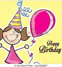 birthday girl birthday girl yellow background vector illustration vector