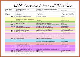 wedding schedule template sop example