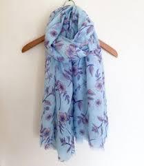 floral foil wrap vintage blue floral scarf silk scarf flower print baar