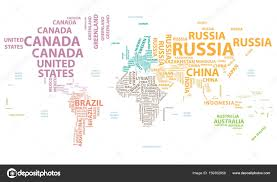 Vector World Map Vector World Map With Country Names In Typography U2014 Stock Vector