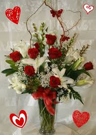 roses and lilies roses white lilies valentines day flowers