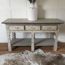 large shabby chic distressed grey console hall 3 drawer table