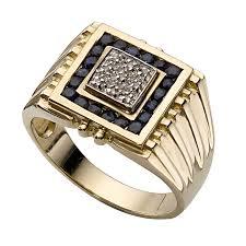 mens gold ring men s 9ct gold sapphire and diamond signet ring h samuel