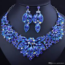 rhinestone necklace sets wholesale images New arrival wedding accessories 2018 royal blue rhinestones jpg