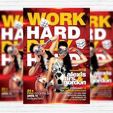 work hard play hard u2013 premium flyer template facebook cover