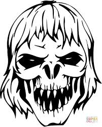 Scary Zombie Skull Coloring Page Free Printable Coloring Pages Scary Coloring Paes