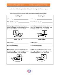 all grade worksheets blood type and inheritance worksheet all