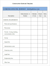 Free Construction Estimate Forms Templates 5 construction estimate templates free word excel pdf