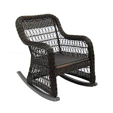 shop allen roth belsay dark brown steel woven seat patio rocking