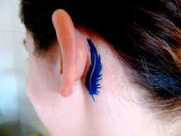 peacock feather tattoo behind ear behind the ear feather tattoo