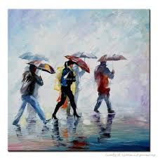 handpainted palette knife pouring rain and people back home