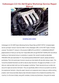 volkswagen 20 16v abf engine workshop service by gwenfrancis issuu