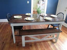 stained table top painted legs farmhouse table stained top white legs bench to match kitchen