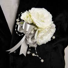 wedding boutonniere diy groom boutonniere men corsage sliver white pearls silk
