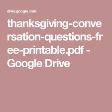 thanksgiving conversation questions free printable pdf