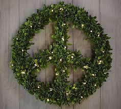 lit boxwood peace wreath pottery barn