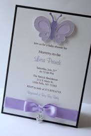 pink and purple butterflies baby shower invitation for
