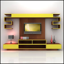 home design 3d model yellow and wood tv wall unit furniture for