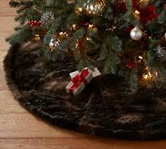 brown christmas tree skirt faux fur tree skirt brown pottery barn