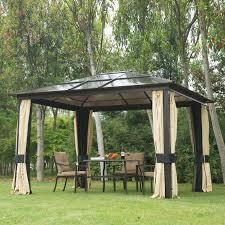 Outdoor Patio Canopy Gazebo 12 X 10 Hardtop Gazebo Outdoor Patio Canopy With Mesh And Curtains