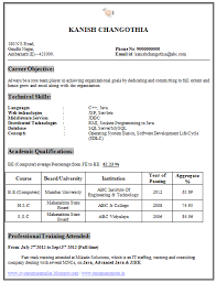 Sample Resume Format For Fresh by Sample Resume For Fresher Computer Science Engineer Gallery