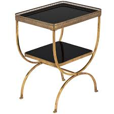Brass Side Table Vintage Black Glass Brass Curule Side Table Jean Marc Fray