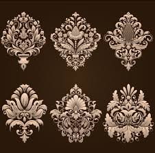 ornamental floral damask elements vector material 01 vector