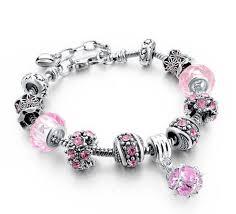 bracelet pandora murano images Replica pink murano crystal glass bead charm bracelet jpg