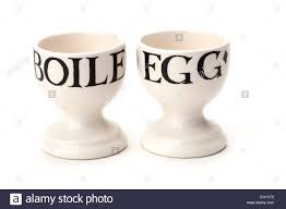 2 emma bridgewater egg cups text design stock photo royalty free