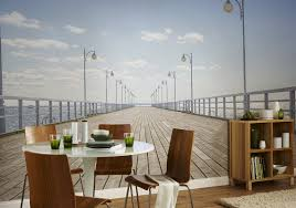 nature inspired eye deceiving wall murals to make your home look 9 wooden pier wall mural by pixers