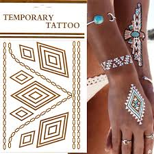 jewel metallic mehndi flash temporary henna tattoo gold silver