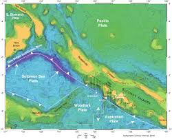 Plate Tectonics Map Plate Tectonics Of The Solomon Islands Region Single White Arrows