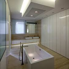 elegant bathroom design with almost face covered by glossy brown