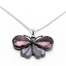 silver butterfly pendant necklace with customizable color center