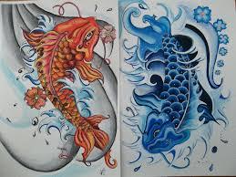 drawn koi blue koi pencil and in color drawn koi blue koi