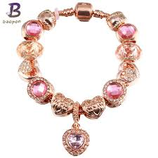 gold charm bracelet beads images Baopon jewelry antique rose gold charm bracelet green glass charm jpg