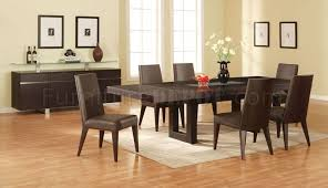 Walnut Finish Modern Dining Room WGlass Inlay Table - Walnut dining room chairs